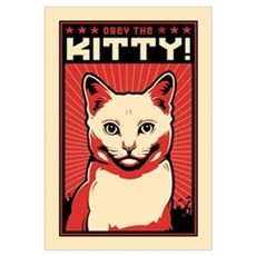 Obey the Kitty! White Cat Canvas Art