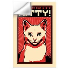 Obey the Kitty! White Cat Wall Decal