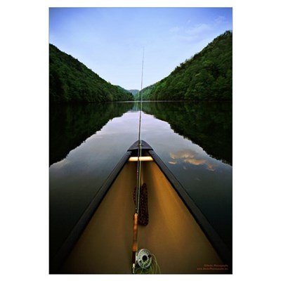 Canoe Fishing Canvas Art
