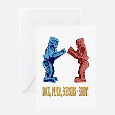 Rock'em Sock'em Paper Scissor Greeting Card