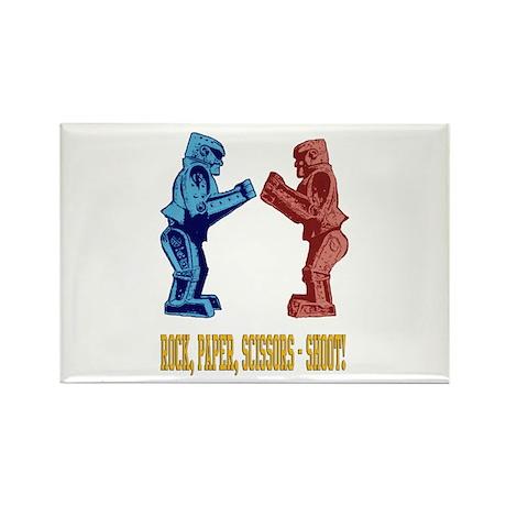 Rock'em Sock'em Paper Scissor Rectangle Magnet (10