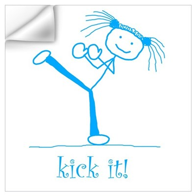 kick it! (blue) Wall Decal