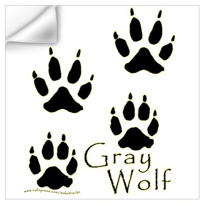 Gray Wolf Track Design Wall Decal