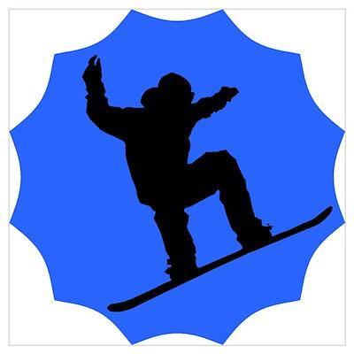 Blue Snowboarder Poster