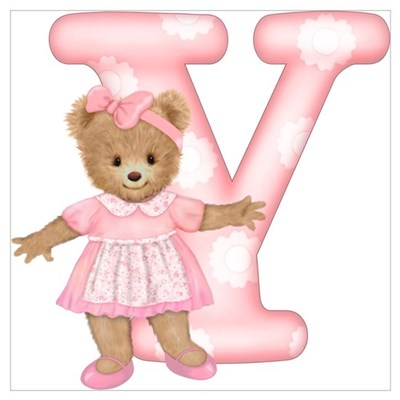 Teddy Alphabet Y Pink Canvas Art