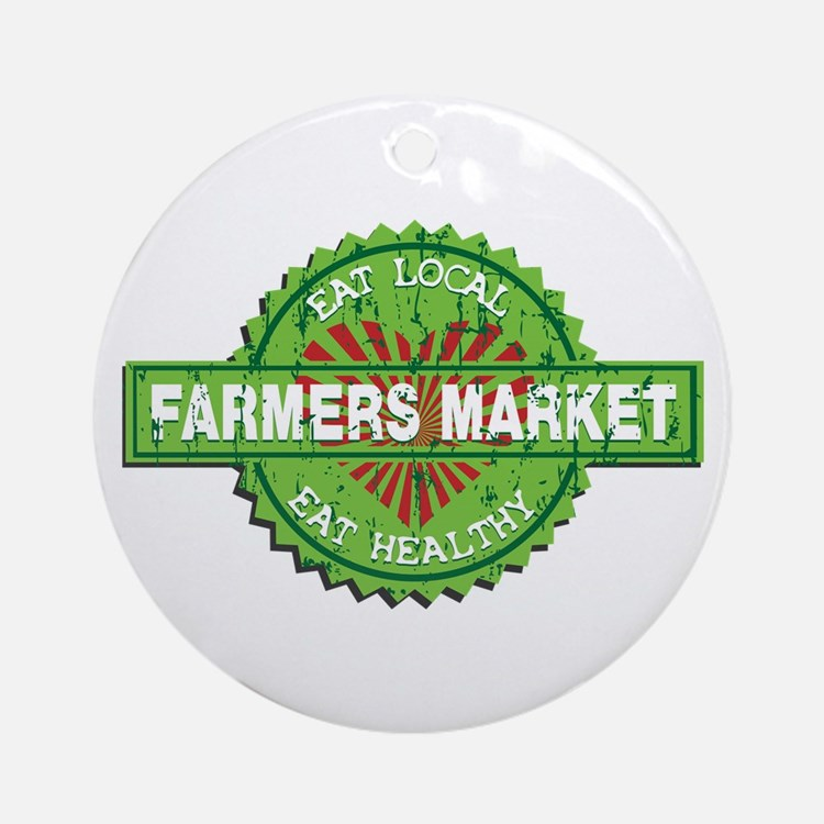 Farmers Market Heart Ornament (Round)