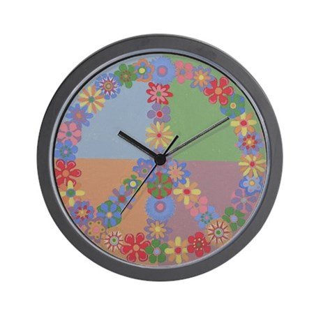 Peace Sign Flowers Wall Clock