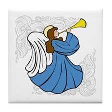 Angel in Blue Tile Coaster