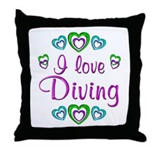 I Love Diving Throw Pillow