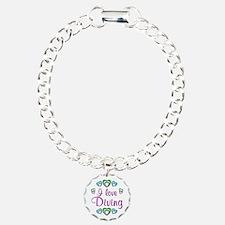 I Love Diving Charm Bracelet, One Charm