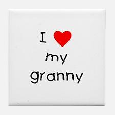 I love my granny Tile Coaster