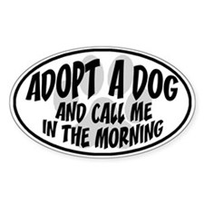 Adopt a Dog White Oval Decal