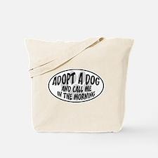 Adopt a Dog White Oval Tote Bag