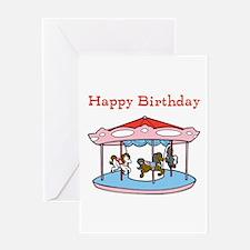 Happy Birthday. Carousel Greeting Card