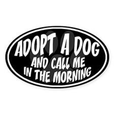 Adopt a Dog Black Oval Decal