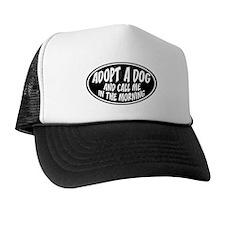 Adopt a Dog Black Oval Trucker Hat