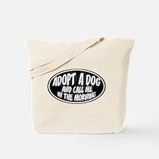 Adopt a Dog Black Oval Tote Bag