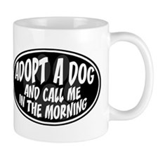 Adopt a Dog Black Oval Mug
