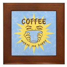 Coffee Wakes Me Happy Framed Tile