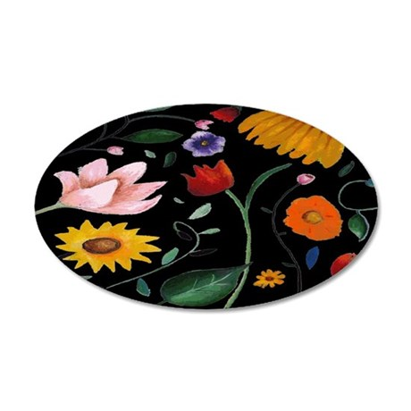 FLOWERS 20x12 Oval Wall Decal