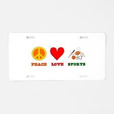 Peace Love Sports Aluminum License Plate