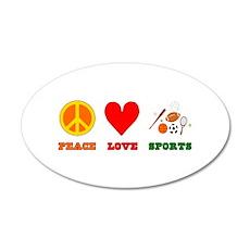 Peace Love Sports 22x14 Oval Wall Peel