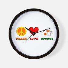 Peace Love Sports Wall Clock
