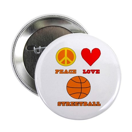 """Peace Love Streetball 2.25"""" Button (10 pack)"""