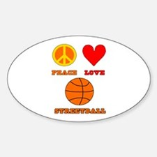 Peace Love Streetball Sticker (Oval)