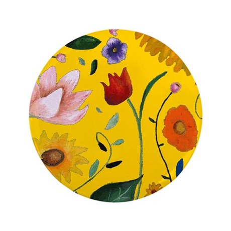 """FLOWERS 3.5"""" Button"""
