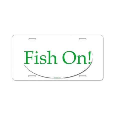Fish on aluminum license plate by saltypro shop for Colorado out of state fishing license