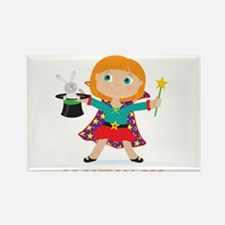 Girl Magician Rectangle Magnet