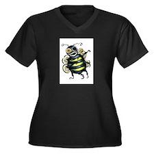 zombee! Women's Plus Size V-Neck Dark T-Shirt