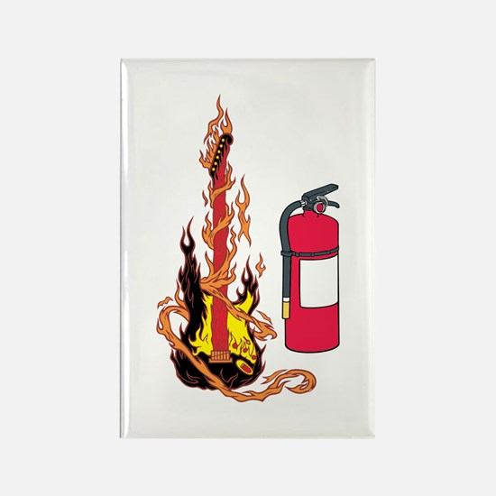 Flaming Guitar and Extinguisher Rectangle Magnet