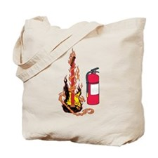 Flaming Guitar and Extinguisher Tote Bag