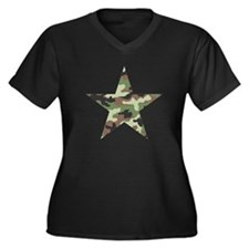 Camouflage Star Women's Plus Size V-Neck Dark T-Sh