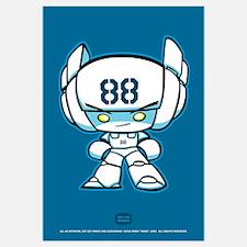 White Robot 88 on Blue