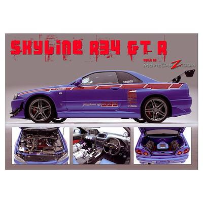 Skyline R34 GT-R , frame included Poster