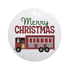 Firefighter Christmas Ornament (Round)
