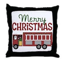 Firefighter Christmas Throw Pillow