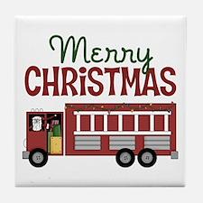 Firefighter Christmas Tile Coaster