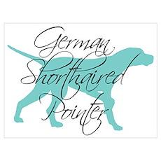 Elegant Teal GSP Dog Poster