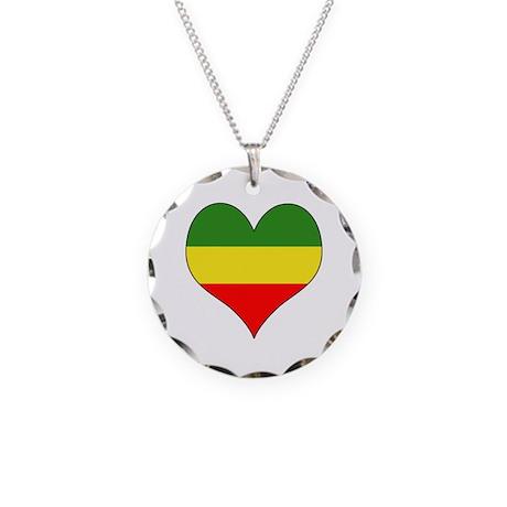 Ethiopia Heart Necklace Circle Charm