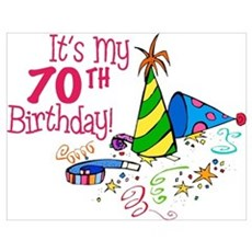 It's My 70th Birthday (Party Hats) Poster