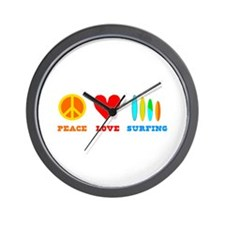 Peace Love Surfing Wall Clock