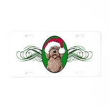 Santa Chocolate Doodle Aluminum License Plate