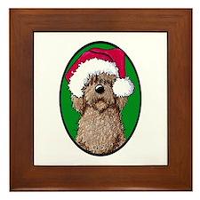 Santa Chocolate Doodle Framed Tile