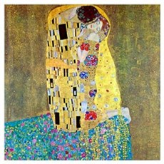 Gustav Klimt The Kiss Medium Framed Print
