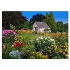 Country Cottage Summer Garden Poster