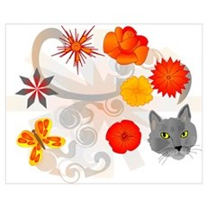 Abstract Floral & Cat Poster